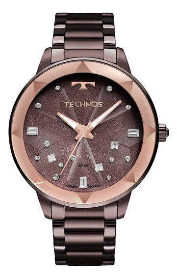 Relógio Feminino Roxo Technos Vidro Multifacetado Com Pedras