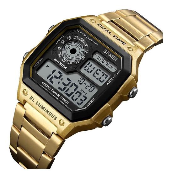Relógio Digital Skmei 1335 Retrô Dourado Prova D