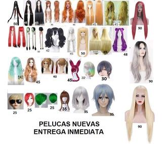 Peluca Nueva Cosplay Disfraz Anime Negra Rubia Rosada Naranj