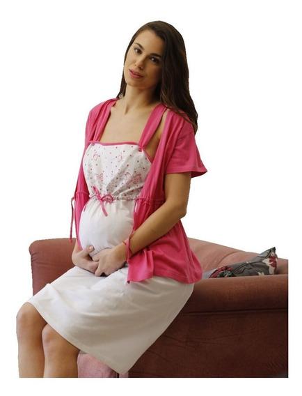 Camison Maternal Con Bata X2 Combo Mas Corpiño Amamantar