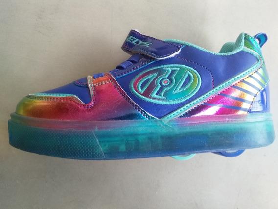 Tenis Patín Heelys Para Niña Arcoiris Multicolor Talla 18