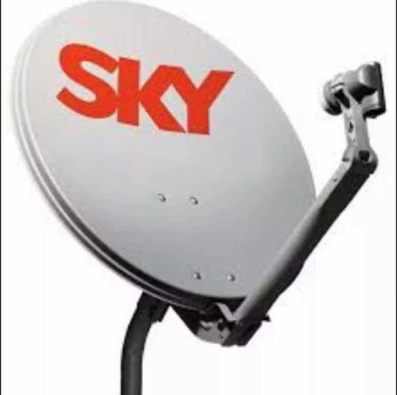 Antena Sky Com Lnb E Suporte De Parede