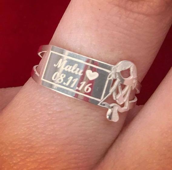 Anel Escrita Personalizada Com Menina Ou Menino Em Prata 925