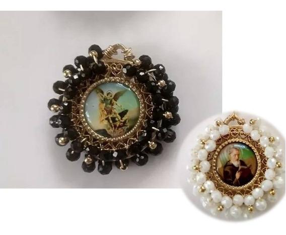 Medalla De San Miguel Arcángel Con Cristales O Perla