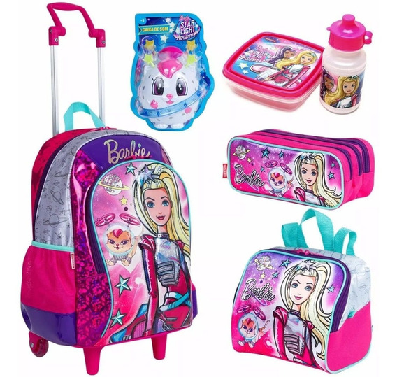 Kit Mochila Lancheira Infantil Rodinha Estojo Barbie Sestini