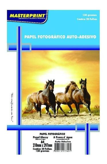Papel Foto A-4 210x297mm 130g C/20f Auto Adesivo Gloss Paper