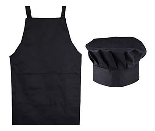 Combo Delantal + Gorro Tipo Hongo Chef Cocinero Todo Uso