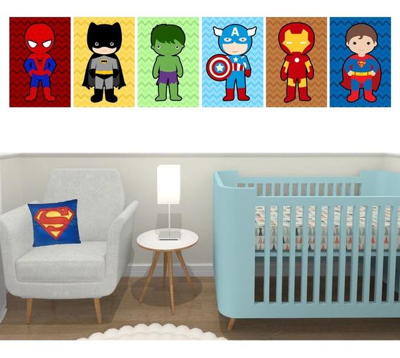 Quadros Decorativos Super Heróis Quarto Menino Kit 6-20x30