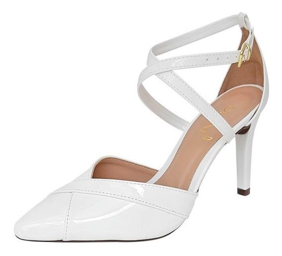 Sapato Scarpin Feminino Branco Verniz Noiva Salto Alto