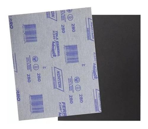 Imagem 1 de 1 de Kit C/ 50 Folhas De Lixa Ferro K246 Norton 225x275 Grão 280