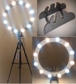 Ring Light 12 Soquetes 2em1 Tripé + Kit Selfie