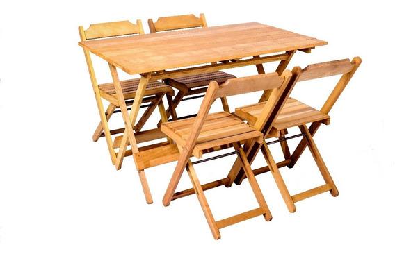 Jogos De Mesa Bar 120x70 Com 4 Cadeiras Dobráveis Em Madeira