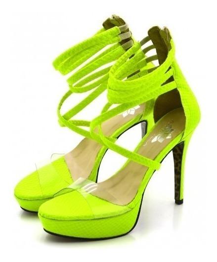 Sandália Plataforma Salto Alto Fino Transparente Neon Verão