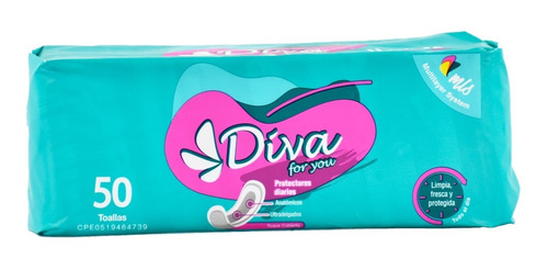 Protectores Diarios Diva 50 Toallas, 36 Und X Bulto