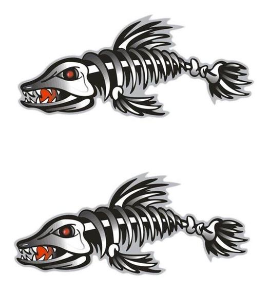 2x Grande Decalques Caiaque De Esqueleto Peixe Vinil Para Pe