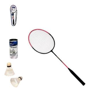 Kit Badminton Com 2 Raquetes + 2 Petecas + Bolsa