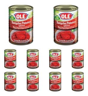 10 Unidades De Tomates Pelados Inteiros Olé Lata 240g
