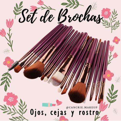 Set De Brochas De Maquillaje (18 Unidades)