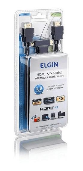 Cabo Elgin Hdmi Com Adaptador Micro/mini