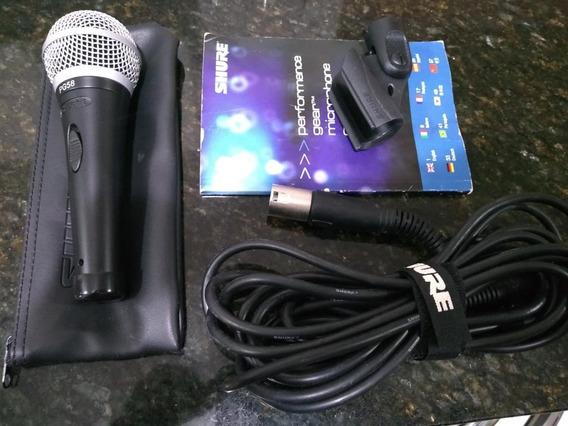 Microfone Shure Pg58 Prof. Vocal Com Fio Novo (sem A Cx)
