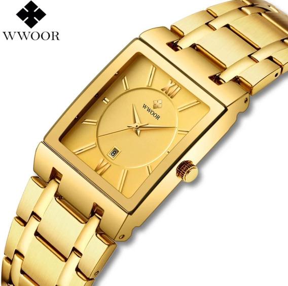 Relógio Masculino Original Wwoor Quadrado Dourado Luxo