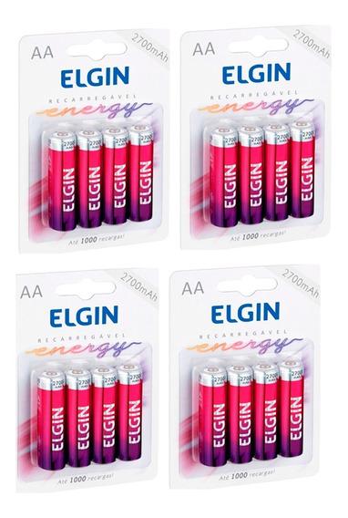 16 Pilhas Recarregáveis Elgin Aa 2700 Pacote 4