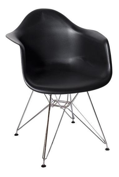 Cadeira Charles Eames Eiffel Com Braços Base Metal Cromado