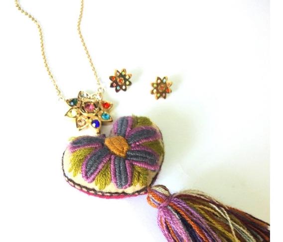Flor C/piedras De Colores + Corazón Artesanal + Aretes.lup´s