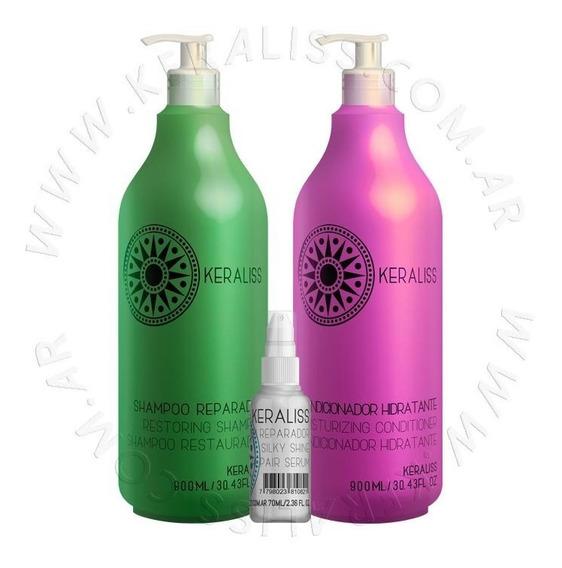 Kit Post Alisado Shampoo, Acondicionador Y Serum Keraliss