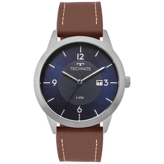 Relógio Masculino Technos 2115mog/0a - Cinza E Marrom