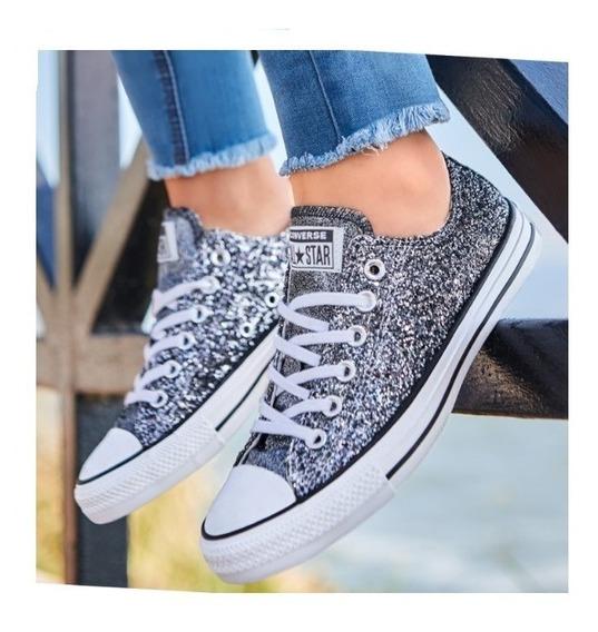 Tenis Converse Original Dama Mujer Sneakers Casual Gliter Pl