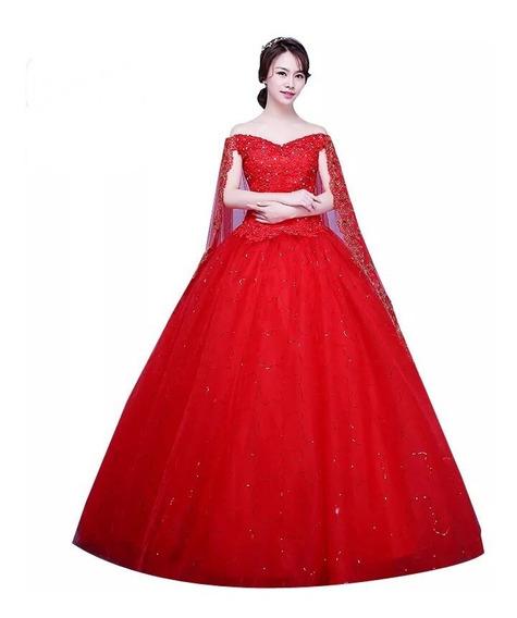 Vestido De Xv Años 15 Rojo Con Capa Lentejuelas Pedrería