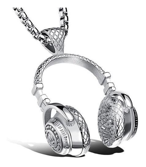 Cordão Masculino Fone De Ouvido Grande 100% Em Aço Inox