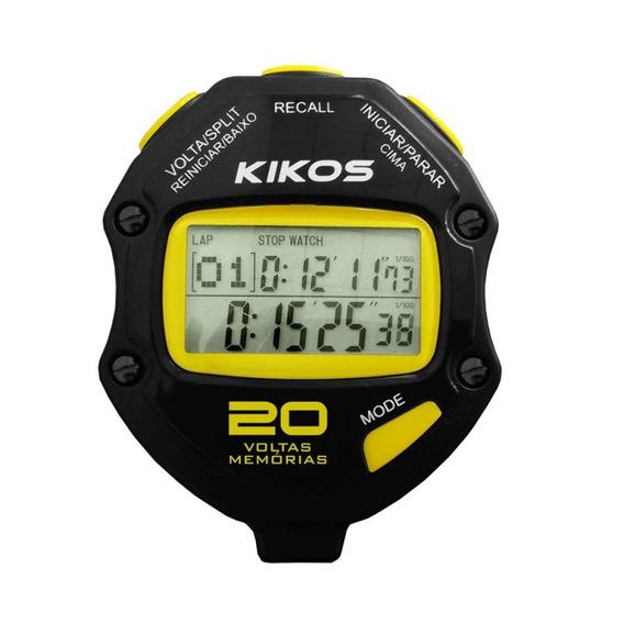 Cronômetro Kikos 20 Voltas Cr20 Preto E Amarelo Com Tempor