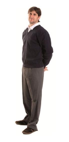 Pullover Adulto Escote En V Colegial Azul Talle S Al Xl