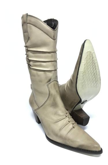 Bota Texana Country Feminina Rosa Ribeiro Bico Fino Branca 100% Couro - Super Confortável - Modelo Único E Exclusivo