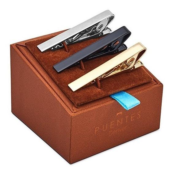 Set Kit 3 Pzs Pisacorbata 5.4 Cm Caja De Regalo Envío Gratis