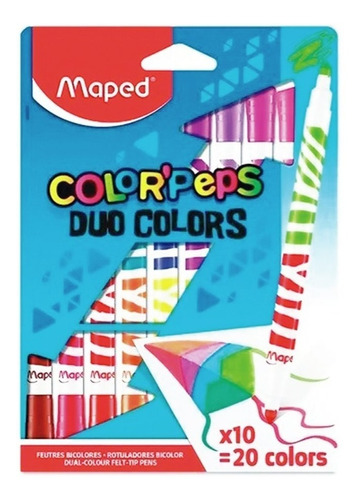 Imagen 1 de 3 de Marcadores Maped Color Peps Duo X10 Doble 20 Colores