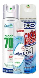 Kit Spray Alcohol 70% Sanitizante 6 En 1 - Ciudad Cotillón