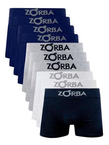 Kit Com 10 Cuecas Boxer Algodão Sem Costura Zorba 781