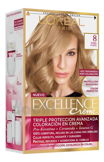 Tinta Loreal Excellence Creme 8 Rubio Miel Piel Media