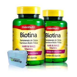 Kit 02 Biotina Firmeza & Crescimento Maxinutri - 60 Cápsulas