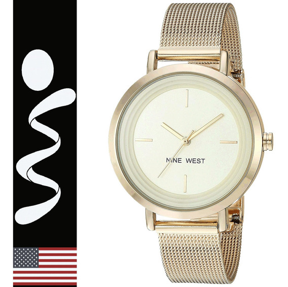 Reloj Nine West Mujer 2146 Metalico Tipo Malla 100% Original