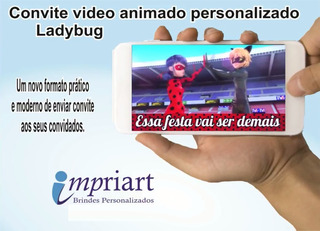 Convite Animado Aniversário Personalizado - Ladybug