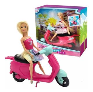 Muñeca Poppi Kiara Y Su Moto 25 Cm