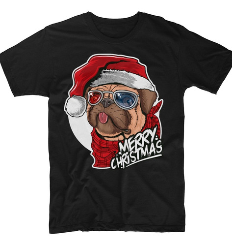 Playera Negra Navideña Perrito Santa Claus Algodón