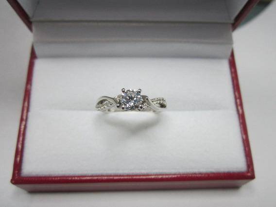 Anillo D Compromiso Oro Rosa 14k Diamantes Rusos Sinteticos