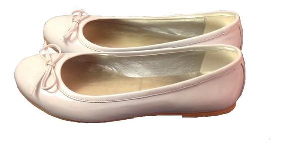 Chatitas Ballerinas Charol Blanco Para Comunión O Cortejo