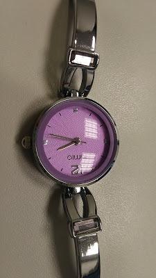 Relógio De Pulso Prata Lilás Importado Kimio Cristal Novo