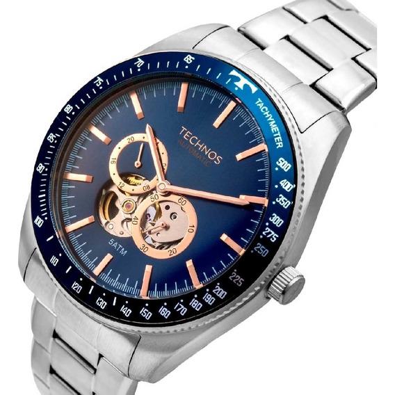Relógio Automático Masculino Techno Garantia Fundo De Vidro.